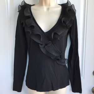 Caché Black Ruffle VNeck Lightweight Sweater EUC